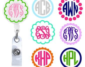 Monogrammed Retractable Badge Reel