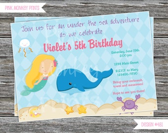 DIY - Under the Sea Mermaid  Birthday Party Invitation# 481 - Coordinating Items Available