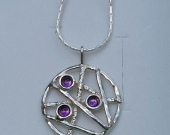 Silver Pendant Sterling Silver 925 Handmade Artisan Crafted Gemstones Amethyst Necklace Women Free Shipping