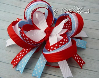Boutique Hair Bow - red. blue. white