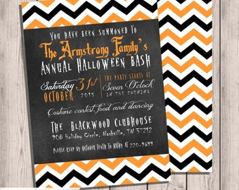 Halloween Chalkboard Invitation, Chevron Halloween Invitation, Printable Invitation Halloween Party, Double-sided,
