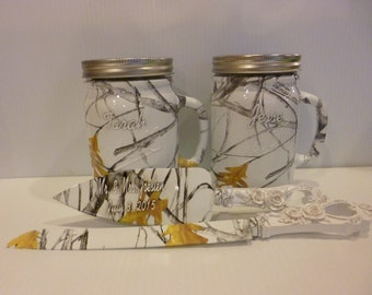 True timber camo personalized 24 ounce mason jars and personalized wedding serving set
