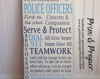 Police Officer Subway Sign- Hand Painted Typography Wall Art