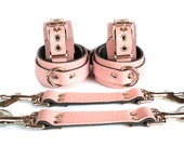 "1-1/2"" Baby Pink Leather BDSM Bondage Restraints 6 pc set with Straps & wrist ankle cuffs slave or sub"