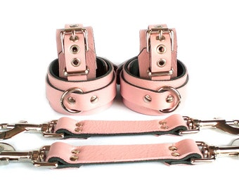 "1-1/2"" Baby Pink Leather BDSM Bondage Restraints 6 pc set with Straps & wrist ankle cuffs slave or sub"