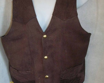 Men's American Brown BISON Leather  Vest - Made in the USA