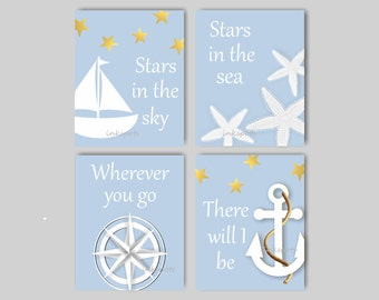 Baby Boy Nursery Art Nautical Nursery Print for Boys Room Nautical Decor Sailboat Print Anchor Print Sailboat Print - Choose Colors - NA1404