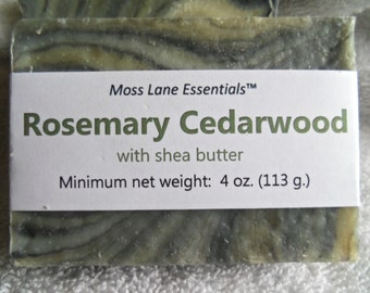 Rosemary and Cedarwood Essential Oil Scented Cold Process Soap with Shea Butter