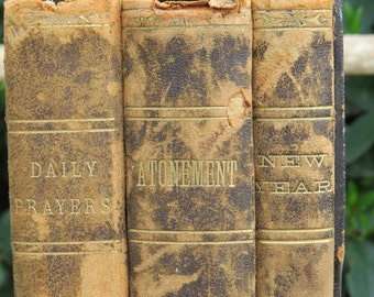 Antique Jewish Prayer Books, Daily Prayers, Atonement, New Year, The Bloch Publishing and Printing Co Cincinnati Hardcover Date 1889