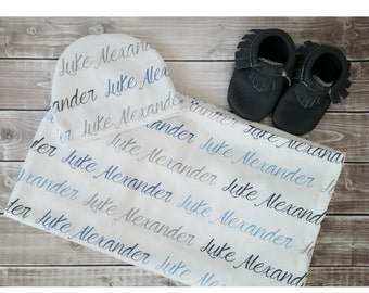 Personalized baby name hat and swaddle blanket set: baby and toddler personalized name newborn hospital gift baby shower gift