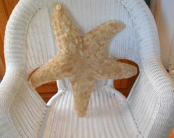 Starfish pillow, cobblestone starfish pillow, tan starfish pillow, nautical pillows, beach pillows, coastal living decor, seashore pillows