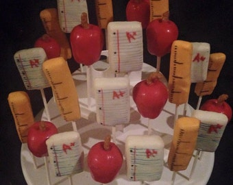 24 Teacher Appreciation cake pops, School theme, apples, professor, back to school