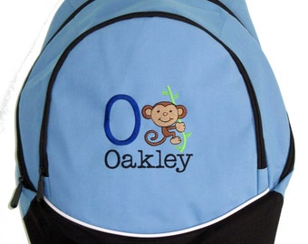FREE SHIPPING - Personalized Monkey  Backpack book bag school New diaper monogram tote baby- NEW