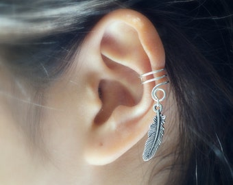 107)Antique Silver Color Feather Ear CUff