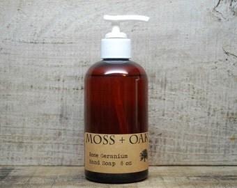 Rose Geranium Liquid Hand Soap   8 oz