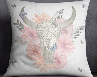 Texas Longhorn Skull Pillow - Lace Pink Flowers and Butterflies - 4 Sizes to Choose from.