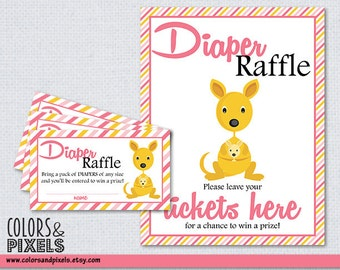 Baby Shower Raffle Tickets, Baby Shower Printable Diaper Raffle Tickets, Baby Shower Printables, DIY Printables, Kangaroo Raffle Tickets