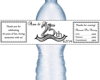 49 25th Anniversary Water Bottle Labels