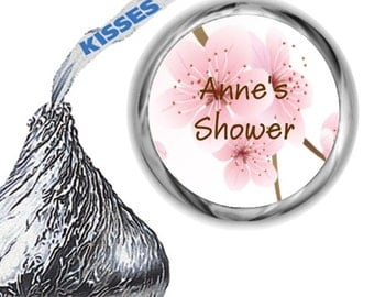 216 Cherry Blossom Bridal Shower Hershey Kiss Sticker