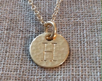 Hand Hammered & Hand Stamped 14K Gold Filled Initial H necklace