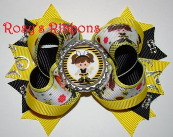 Bumble bee girls bow