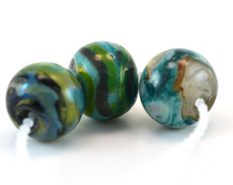Turquoise Twistie Set of 3 Glass Lampwork Beads