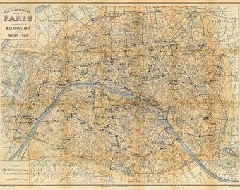 Old Paris Map Giant Restoration Hardware Style Map Paris - Restoration hardware paris map