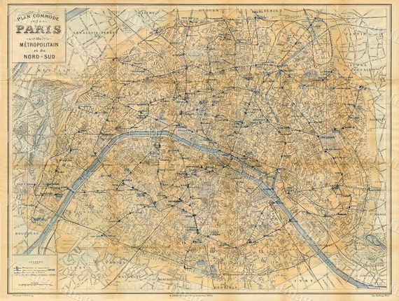 Old Paris Map Vintage City Map of Paris 1928 Paris France restoration hardware style Paris Map Fine art Print Home Decor largest Sizes