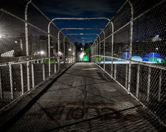 The 24th Street Pedestrian Bridge at night, in Minneapolis, Minnesota - Urban Photography Fine Art Print or Wrapped Canvas