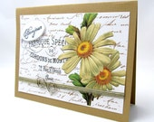 Bonjour Card - Any Occasion Card - French Vintage - Brown Card - Yellow Daisy - Blank Card - Elegant Details - Shabby Chic Style