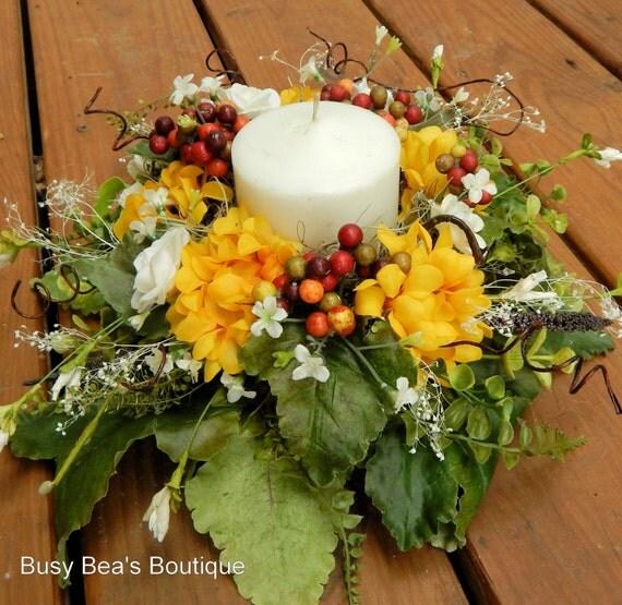 Designer centerpiece silk floral candle ring year round