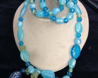 Vintage Shades Of Blue & Green Beaded Necklace Bracelet Set