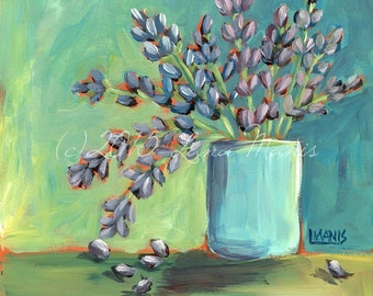 Lavender #4 - Fine Art PRINT - Bouquet in Aqua Flower Pot - cottage chic, whimsical, contemporary. acrylic painting by Lana Manis