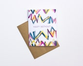 SET OF 6 Happy Birthday Cards | Original Abstract Watercolor Design by Allie Kushnir