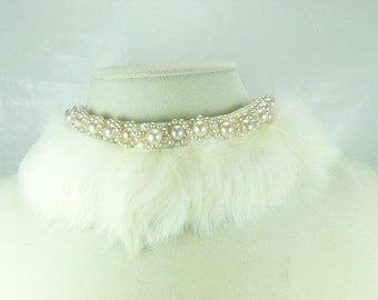 Vintage Pearl Fur Collar / Japan Fur Collar And Faux Pearl Collar Necklace