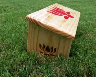 Hand Made Red Lotus Meditation Bench. Hand Painted Lotus Flower and Lotus Legs