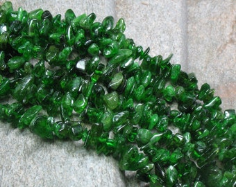"Green Diopside Chips - 16"" strand - Item B0092"