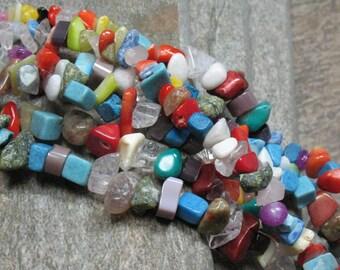 Mixed Gemstone Chip Beads 33 inch strand - Item B0262