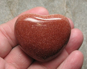 Goldstone Puffed Heart, 45 mm - Item 54556s