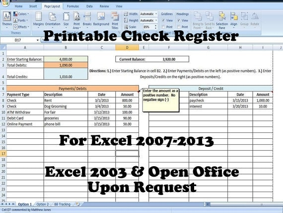 printable check register how to balance a check book new
