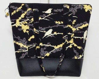 Large Tote Bag with Birds, Vinyl Bottom, Yellow, Black, Bird Tote Bag with Pockets, Diaper Bag, Large Purse, Weekend Bag, Travel Bag.