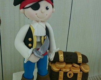 Pirate with Treasure Cake Topper edible fondant icing