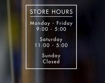 Custom Vinyl Decal Door Store Business Restaurant Barber Boutique Spa Open Hours Sign 9x12