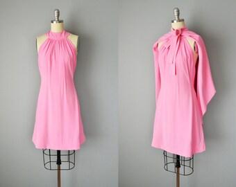 60s Dress // 1960s Donald Brooks Pink Crepe Mini Dress with matching Cape // Small-XS