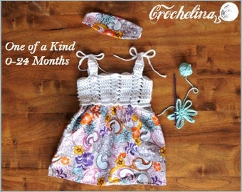 Super Stretchy - 0-24 Month- 1 of a kind-Crochet Boutique Baby Dress - Spring at Play Collection-