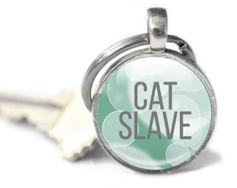 Cat Keychain - Cat Quote Keyring - Glass Photo Keychain - Cat Gifts (KCK4)
