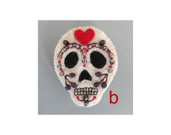 SALE Sugar skull felt brooch - red heart B