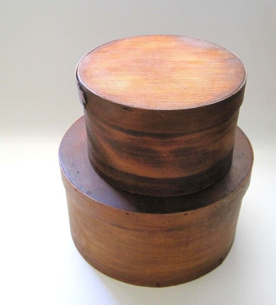 Round wooden boxes cheese boxes primitive farmhouse chic for Circular wooden box