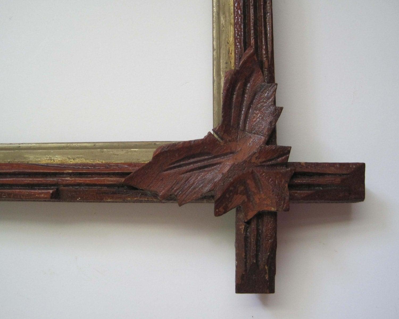 Antique Wood Frame Carved Corner Leaves Corssed Corners