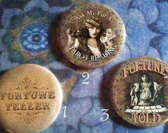 Fortune Teller PINS - 12 designs, 3 sizes available